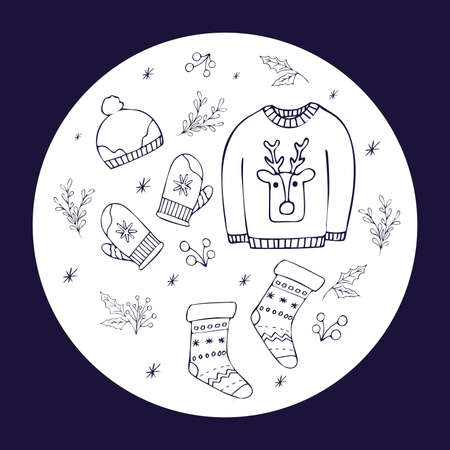 Christmas set of winter clothes. Sweater, hat, mittens, socks, plants, snowflakes isolated on a white background. Vector illustration in outline hand drawn style