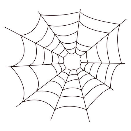 Spider web. Black and white icon for design isolated on white background. Simple vector Halloween element. Vetores