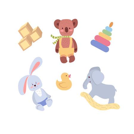 Toys for children's rooms, nursery, kindergarten, children's room set of vector illustrations on a white background. Vector illustration