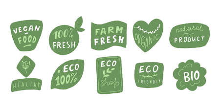 Eco badge set in handraw style. Organic logo. Vegan product labels, natural food and eco vegetables badges, fresh and healthy product stickers. Vector illustration Logo
