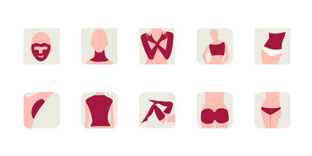 Laser hair removal icon set isolated on white background. Vector illustration of epilation on face, back, legs, armpits, arms, back, buttocks, bikini and abdomen Vecteurs