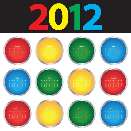 schedulers: Colorful Calendar for 2012 Illustration