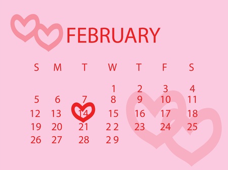 Valentines Day marked out on a calendar