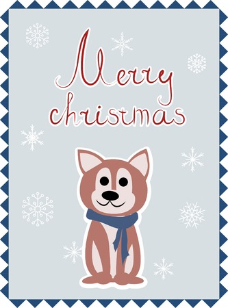 Christmas greeting card with dog, vector illustration. Illustration