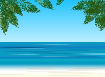 Beach holidays, palm trees on the background of the sea, vector illustration