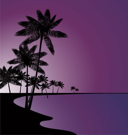 Palm trees on the background of the sea and sunset. Summer time. Vector illustration Illustration