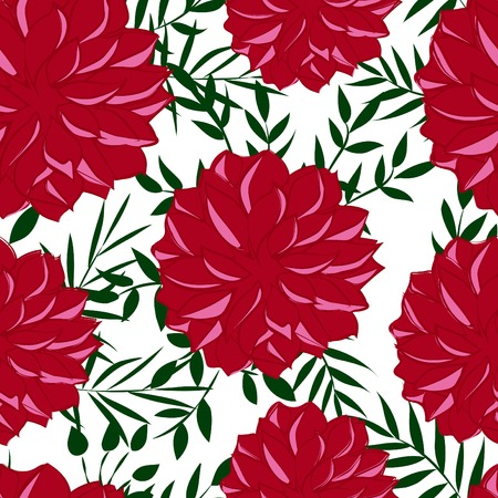 Seamless pattern with red flowers, vector illustration Çizim