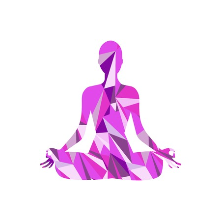 Silhouette of a girl in yoga