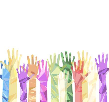 Silhouette of hands raised upwards Vettoriali