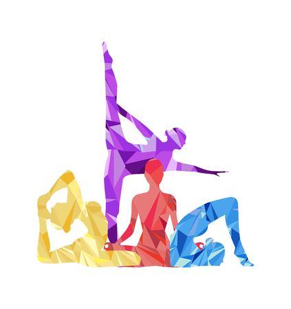 Silhouette d'une fille engagée dans le yoga Banque d'images - 90867002