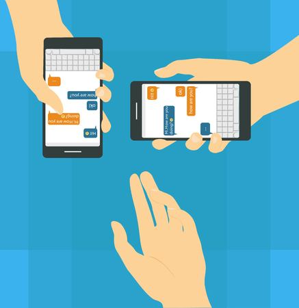 Hand with phones illustration