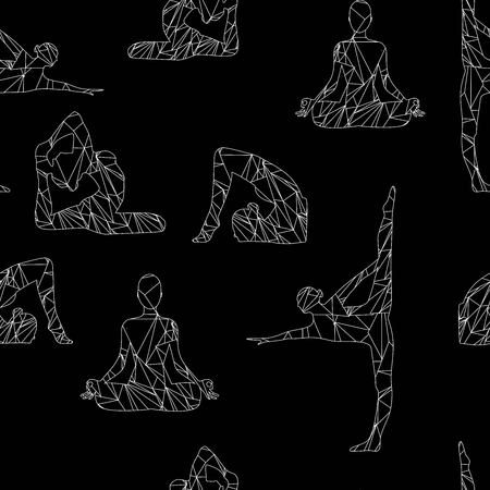 Silhouette of a girl engaged in yoga pattern