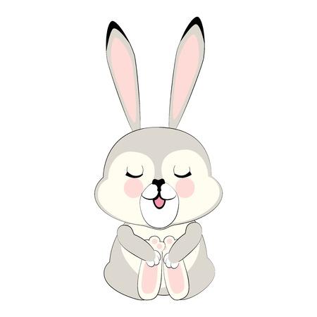 A grey sleepy Bunny, cute beast vector cartoon character illustration Ilustração