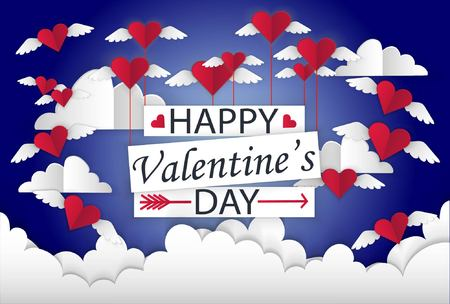 Illustration of Valentines day with heart soaring on paper wings against the sky and paper clouds.