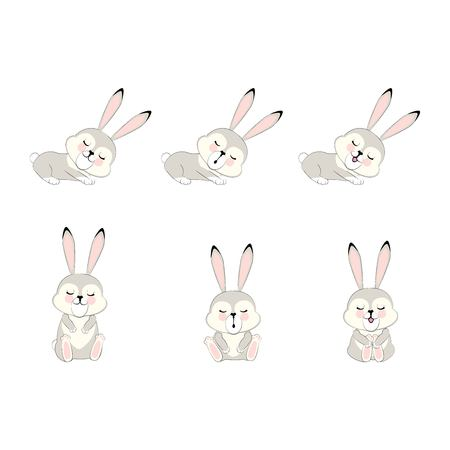 A cartoon grey sleepy Bunny. cute beast. vector  character illustration