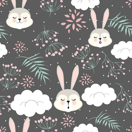 A background of floral pattern cartoon for Valentine's day with a sleeping Bunny in the clouds Ilustração
