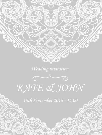 Wedding invitation with lace vector illustration royalty free vector wedding invitation with lace vector illustration stopboris Images