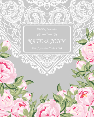 Wedding invitation with peonies and lace vector illustration vector wedding invitation with peonies and lace vector illustration stopboris Images