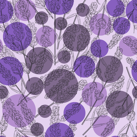 seamless background of purple lavender on a background of circles, flowers watercolor style. elegant flowers. vector background