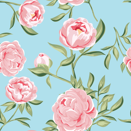 seamless pattern of pink peony flowers. vector illustration for fabric, greeting cards, packings.  Illustration