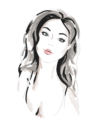 Hand drawn beautiful woman portrait. fashionable girl with curly hair. Sketch. Vector illustration. Illustration