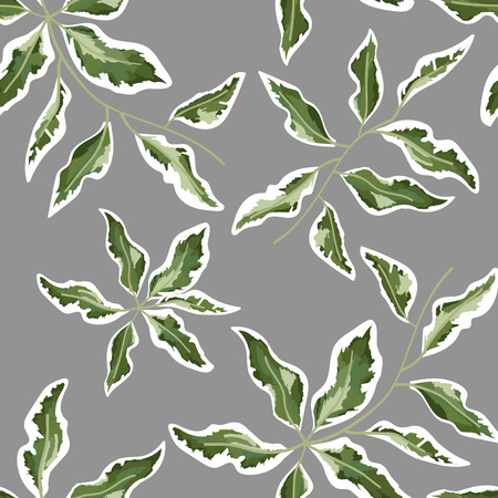 pattern of green leaves on a gray background, watercolor style.