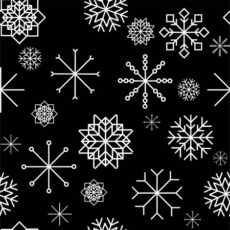Seamless pattern with hand drawn snowflakes. Abstract brush strokes. Ink illustration. Winter pattern for wrapping paper.vector illustration.