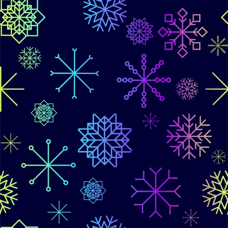 Red and blue snow flakes falling winter modern vector background. Snowflake elements vector illustration, confetti chaotic scatter winter modern background in trendy colors.vector illustration. Ilustracja