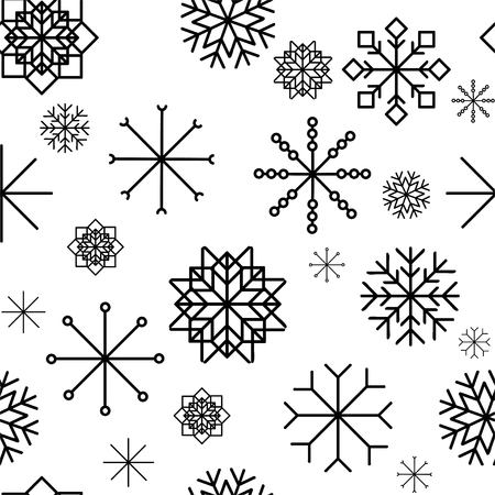 Seamless pattern with hand drawn snowflakes. Abstract brush strokes. Ink illustration. Winter pattern for wrapping paper.vector illustration. Zdjęcie Seryjne - 127666195