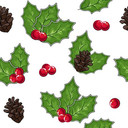 vector illustration, pattern of cones and cranberries
