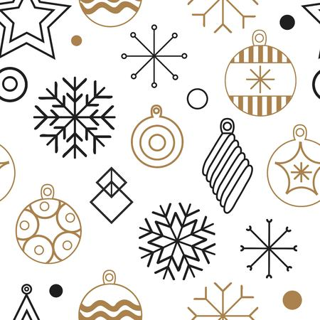 Happy New year, merry Christmas, vector seamless illustration of Christmas decorations and snowflakes. for the design of greeting cards, photo overlays, prints, posters. new year pattern. Happy new year. vector illustration Zdjęcie Seryjne - 127409850