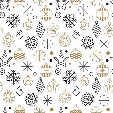 Happy New year, merry Christmas, vector seamless illustration of Christmas decorations and snowflakes. for the design of greeting cards, photo overlays, prints, posters. new year pattern. Happy new year. vector illustration