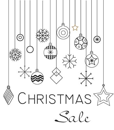 Christmas cards and Happy new year 2019. Holiday vector illustration with inscription compositions, snowflakes and Christmas toys. Christmas sale. Vintage Holiday Label. vector illustration Zdjęcie Seryjne - 127409866
