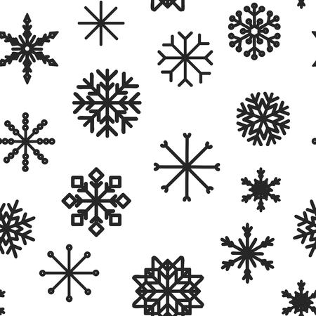 Seamless pattern with hand drawn snowflakes. Abstract brush strokes. Ink illustration. Winter pattern for wrapping paper. 矢量图像