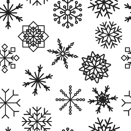colored snowflakes falling winter modern vector background. Snowflake elements vector illustration, confetti chaotic scatter winter modern background in trendy colors. Ilustracja