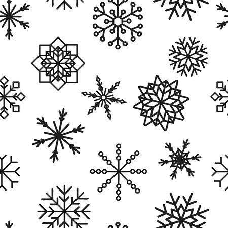 colored snowflakes falling winter modern vector background. Snowflake elements vector illustration, confetti chaotic scatter winter modern background in trendy colors. Zdjęcie Seryjne - 127383136