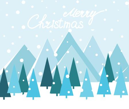 Merry Christmas Landscape. vector illustration Zdjęcie Seryjne - 127383139