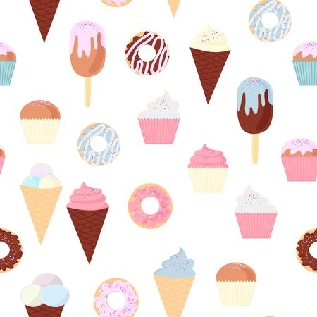 set of colorful delicious cupcakes, cakes, desserts, ice cream and donuts. Cupcake icons, flat style. Vector illustration. elements for new year, holiday cards, birthday cards