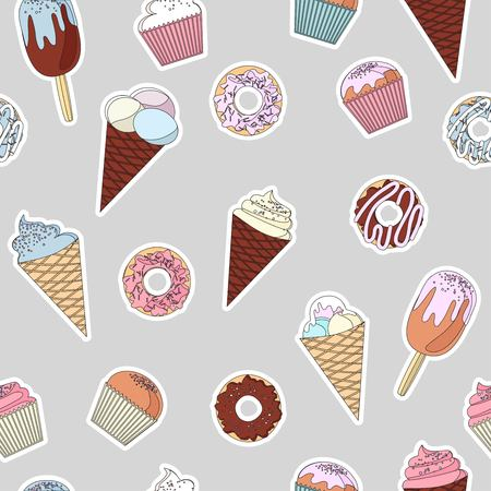 set of colorful delicious cupcakes, cakes, desserts, ice cream and donuts. Cupcake icons, flat style. Vector illustration. elements for new year, holiday cards, birthday cards Banque d'images - 127234893