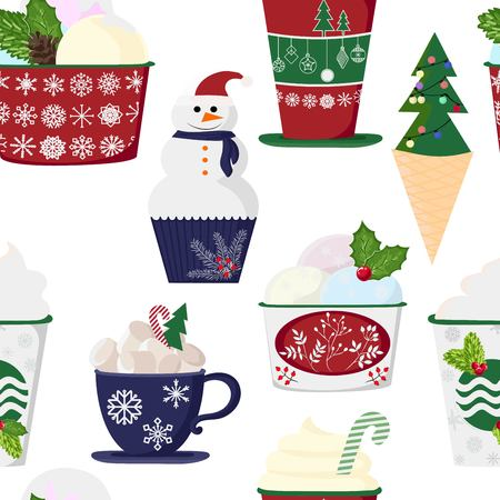 pattern of a set of colorful delicious cupcakes, cakes, desserts, ice cream with Christmas and new year decorations.flat style. Vector. elements for the new year, holiday cards, greeting cards. vector illustration