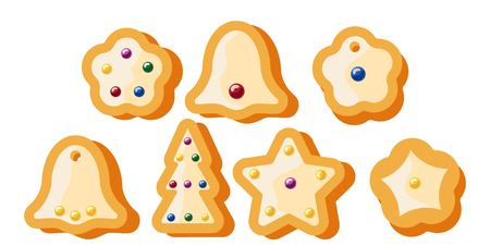 gingerbread gift celebration vector illustration. set of isolated objects Christmas cookies Ilustracja