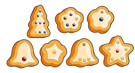 gingerbread gift celebration vector illustration. set of isolated objects Christmas cookies Illustration