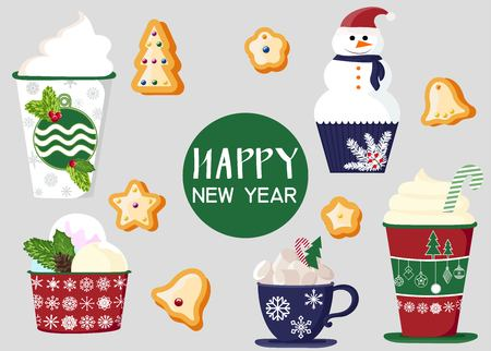 background of a set of colorful delicious cupcakes, cakes, desserts, ice cream with Christmas and new year decorations.flat style. Vector. elements for the new year, holiday cards, greeting cards. vector illustration Ilustracja