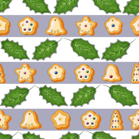 Winter seamless patterns with gingerbread cookies. Amazing holiday vector background. Christmas repeating texture for surface design, Wallpaper, fabrics, wrapping paper etc.vector illustration Ilustracja