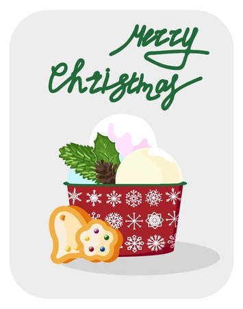 Hand drawn Christmas card. Merry Christmas and New Year typography. Cute holidays greeting card, invitation, poster and templates. Vector illustration. Banque d'images - 114023830