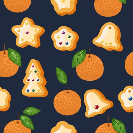 Mandarin seamless pattern. Vector tangerine. Hand drawn fresh tropical citrus fruit. Multicolored sketch background. Colorful doodle wallpaper.vector illustration