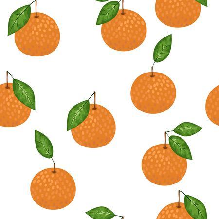 Mandarin seamless pattern. Vector tangerine. Hand drawn fresh tropical citrus fruit. Multicolored sketch background. Colorful doodle wallpaper.vector illustration