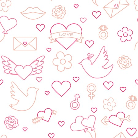 Valentines day seamless pattern. Love, romance flat line icons - hearts, engagement ring, kiss, balloons, doves, valentine card. Red, blue wallpaper for february 14 celebration.vector