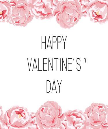 Valentine s Day card on pink roses with place for text. Vektoros illusztráció