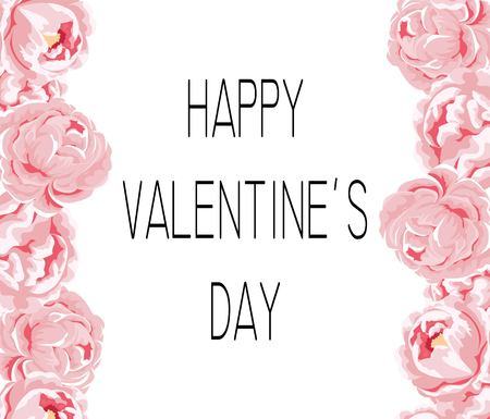 Valentine s Day card on pink roses with place for text.